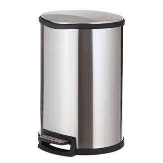 Home Zone Stainless Steel Kitchen Trash Can with Semi-Round Design and Step Pedal | 45 Liter / 12 Gallon Storage with Removable Plastic Trash Bin Liner
