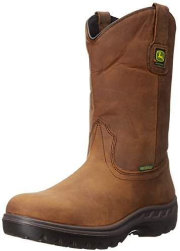 """John Deere JD4604 11"""" Waterproof Pull On Steel Toe Boot,Poplar"""