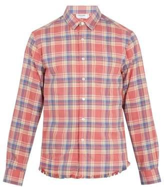 Frame - Checked Frayed Hem Flannel Shirt - Mens - Pink