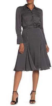 Equipment Bancort Belted Satin Midi Dress