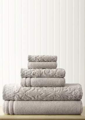 Amrapur Overseas Embellished Border Damask Jacquard Towel 6-Piece Set - Grey