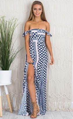 Showpo Beautiful Life maxi dress in navy print