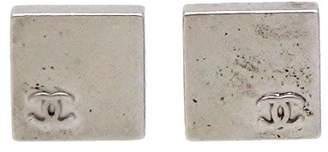 Chanel CC Logo Silver Tone Metal Metallic Square Stud Earrings