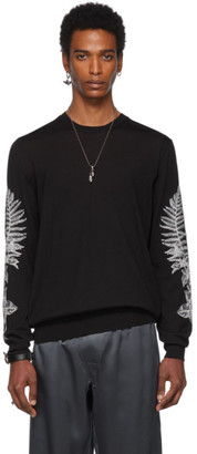 Alexander McQueen Black Embroidered Fern Sweater
