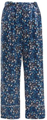 Morgan Lane - Melissa Dandelion Print Silk Pyjama Trousers - Womens - Navy Print
