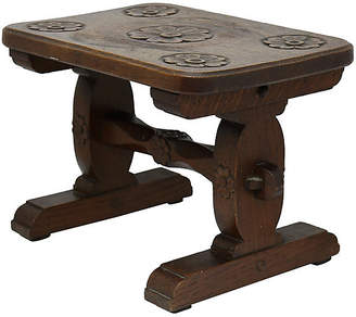 One Kings Lane Vintage Antique English Carved Wood Step Stool - Rose Victoria
