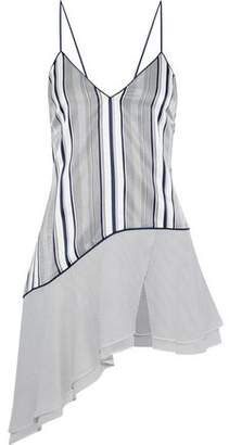 Jonathan Simkhai Asymmetric Georgette-Paneled Striped Silk-Satin Camisole
