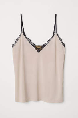 H&M Jersey Camisole Top with Lace - Beige