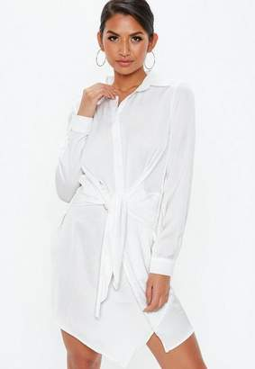 Missguided White Tie Waist Shirt Dress