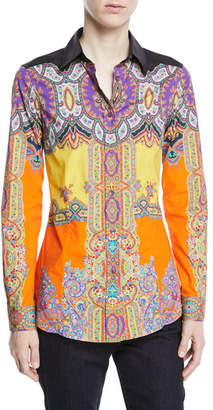 Etro Paisley Collared Long-Sleeve Fitted Shirt