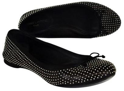 Saint Laurent Black Leather Studded Ballerina Flats