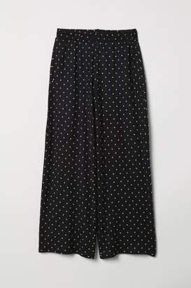 H&M Wide-cut Jersey Pants - Black