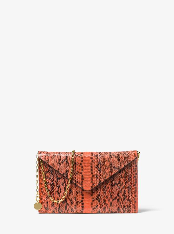 Michael Kors Runway Snakeskin Clutch - CLEMENTINE - STYLE