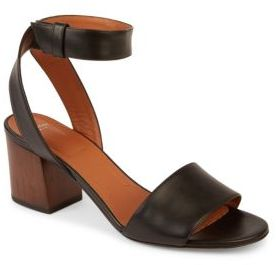 Givenchy Paris Leather Block Heel Sandals