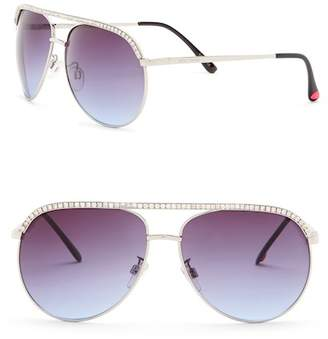 Betsey Johnson Rhinestone Embellished Aviator Sunglasses