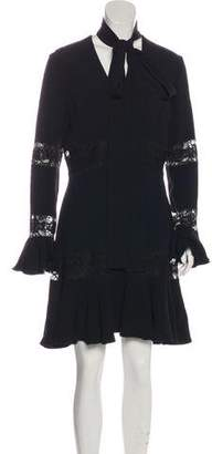 Elie Saab Lace-Accented Mini Dress