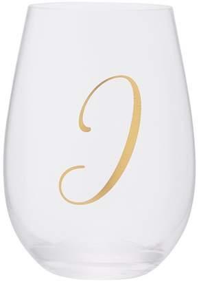 Indigo Stemless Monogram Wine Glass I
