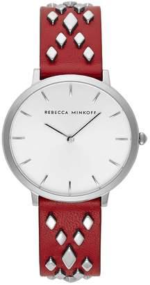 Rebecca Minkoff Women's Major Studded Leather Strap Watch, 35mm