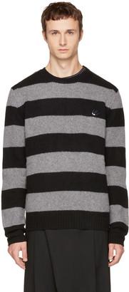 McQ Alexander McQueen Grey & Black Punk Stripe Swallow Badge Sweater $345 thestylecure.com