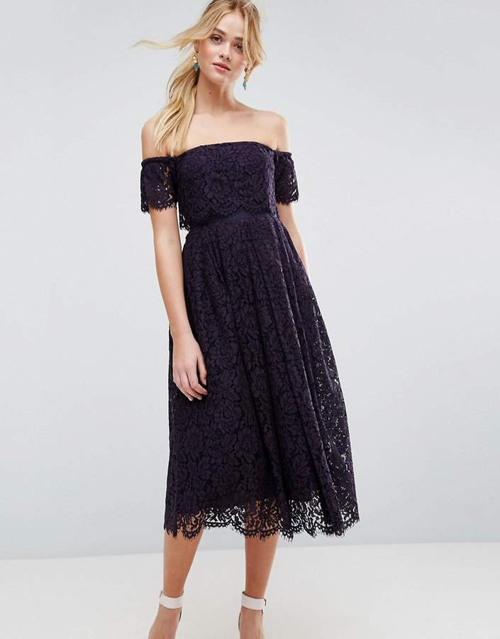Asos ASOS Off the Shoulder Lace Prom Midi Dress
