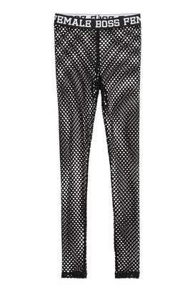 H&M Jersey Leggings - Black/mesh - Women