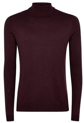 Topman Mens Red Burgundy Turtle Neck Sweater