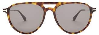 Tom Ford Carlo Aviator Acetate Sunglasses - Mens - Brown