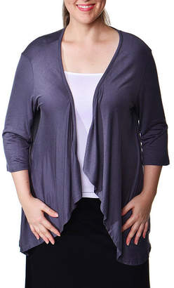 24/7 Comfort Apparel Open Shrug Cardigan-Plus