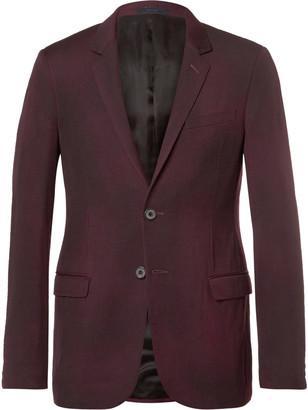 Lanvin Burgundy Slim-Fit Overdyed Brushed Wool-Gabardine Suit Jacket $2,850 thestylecure.com