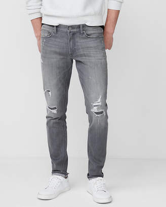Express Skinny Gray Destroyed Stretch+ Jeans