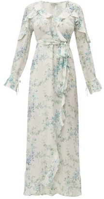 D'Ascoli Bedford Floral Print Silk Dress - Womens - Blue