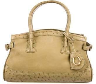 Cece Cord Ostrich-Trimmed Suede Top Handle Bag
