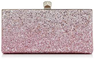 Jimmy Choo CELESTE/S Flamingo and Platinum Ice Glitter Degrade Fabric Clutch Bag