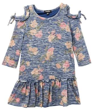 Zunie Long Sleeve Cold Shoulder Floral Print Dress (Little Girls)