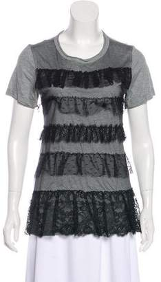 RED Valentino Tiered Mesh Ruffle Short Sleeve T-Shirt