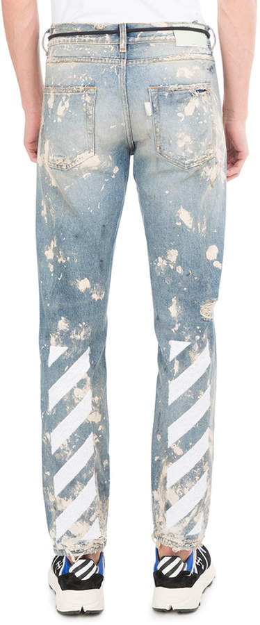 Off-White Diagonal Arrows Slim Vintage Paint Jeans
