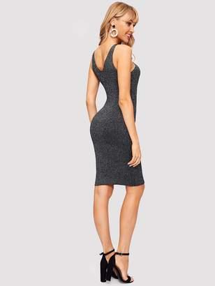 Shein V-cut Back Zip Bodycon Sweater Dress