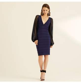Amanda Wakeley Midnight Viscose Knitted V-Neck Dress