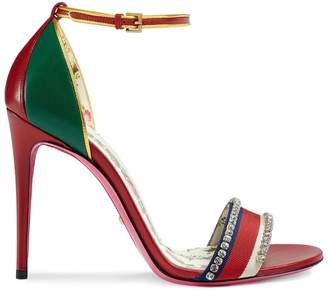 Gucci Leather sandal with crystals