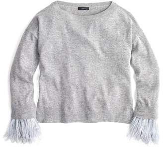 J.Crew J. Crew Feather Sleeve Crew Neck Sweater