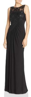 Eliza J Embellished Draped Gown