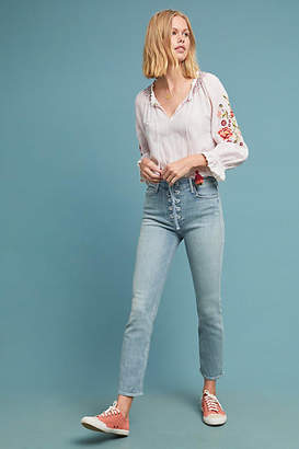 Mother The Dazzler Lace-Up High-Rise Skinny Ankle Jeans