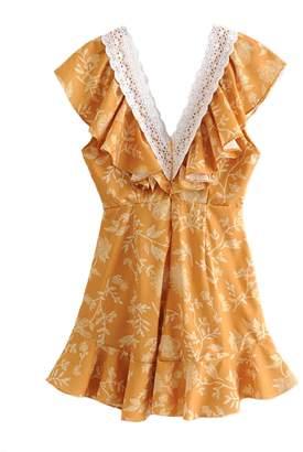 Goodnight Macaroon 'Gina' Crochet Frilled Front Mini Dress