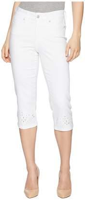 NYDJ Petite Petite Marilyn Crop Eyelet Embroidery Hem in Optic White Women's Jeans