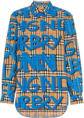 Burberry graffiti print vintage check shirt