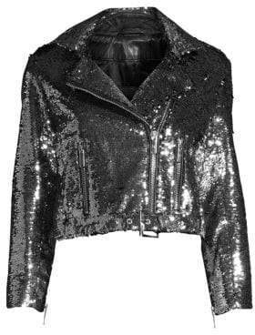 Nour Hammour Sparkles Leather Moto Jacket