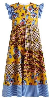 MSGM Floral Print Cotton Dress - Womens - Yellow Multi
