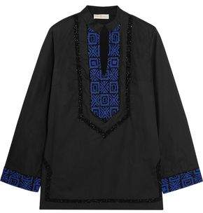 Tory Burch Embellished Embroidered Cotton-Poplin Blouse