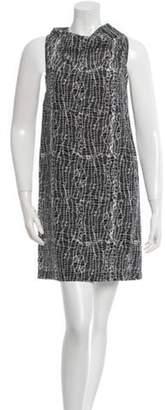 Cédric Charlier Printed Mini Dress Grey Printed Mini Dress