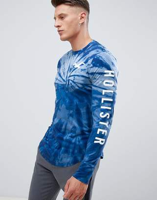 Hollister sleeve logo tie dye long sleeve top in navy